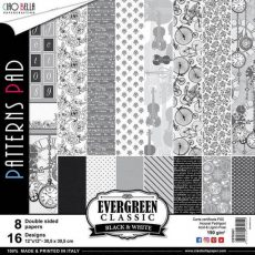 """PATTERNS EVERGREEN CLASSIC BLACK AND WHITE 12"""""""