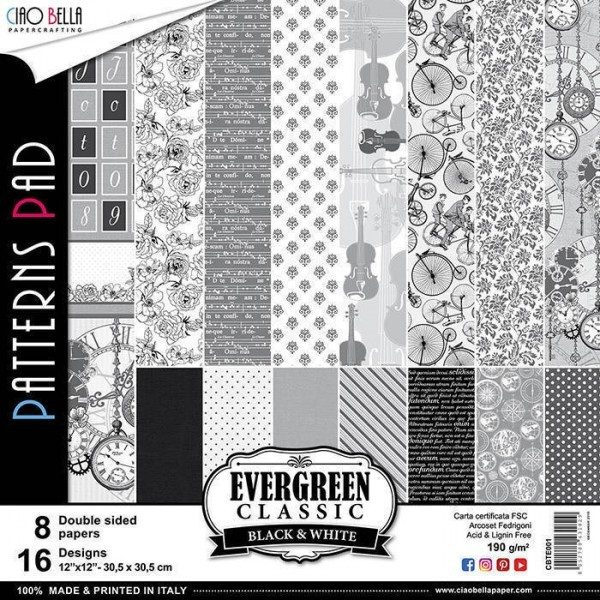 PATTERNS EVERGREEN CLASSIC BLACK AND WHITE 12""